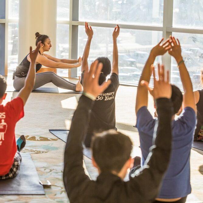 A yoga class